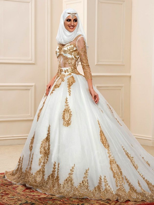 This Luxurious Muslim Wedding Gown With Gold Sequins And Long Sleeves Has A Full Muslim Wedding Dresses Gold Wedding Dress Modest Wedding Dresses With Sleeves