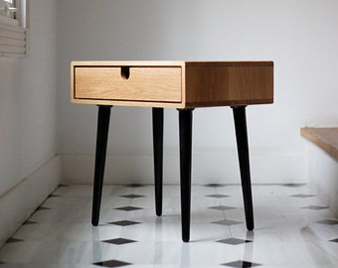 Mid Century Scandinavian Bedside Table Nightstand Two Drawers And Retro Legs Made Of Solid Oak Bedside Table Scandinavian Furniture Bedside Tables Nightstands