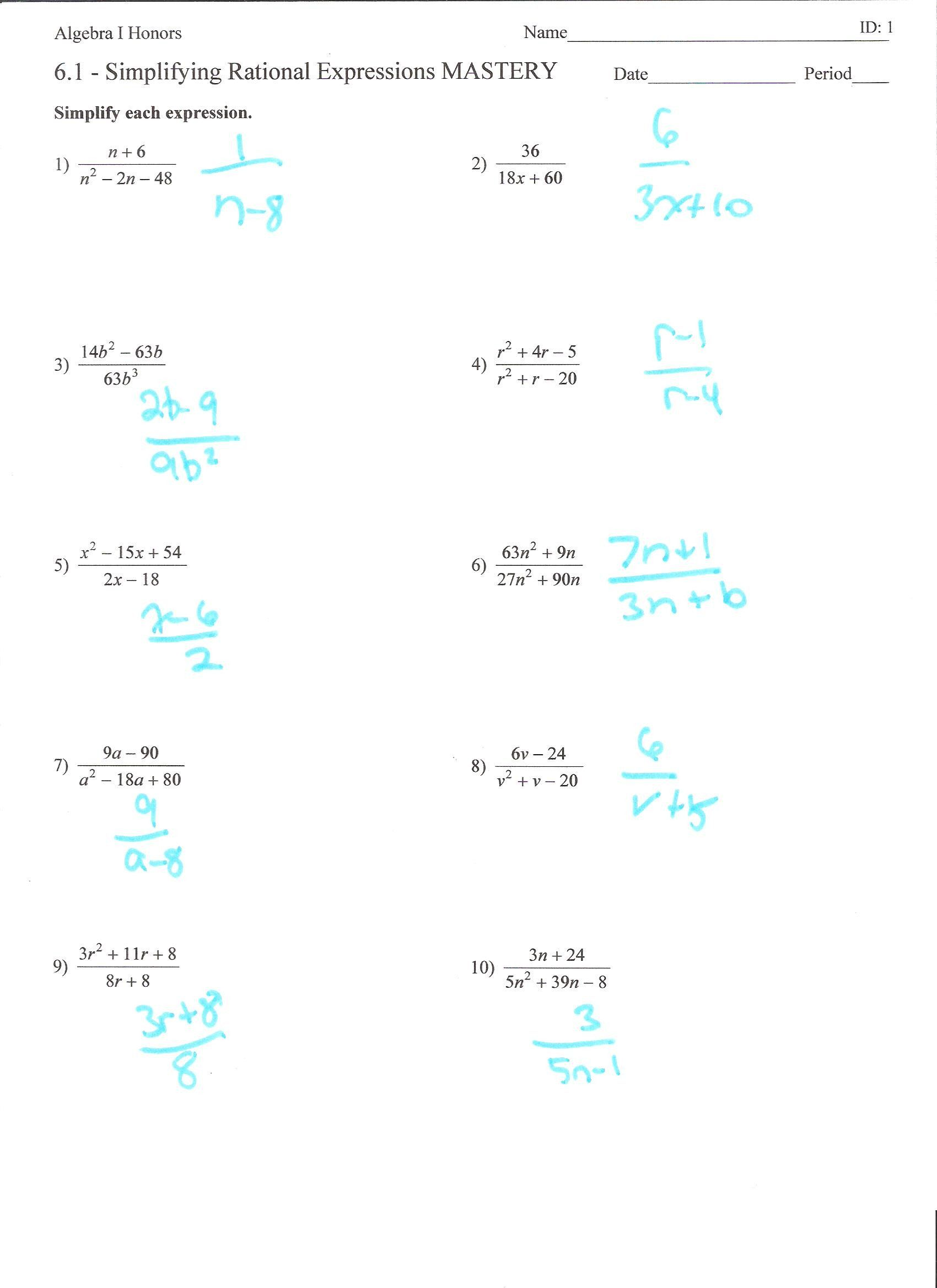 Algebraic Expressions Worksheet Answers Adding And