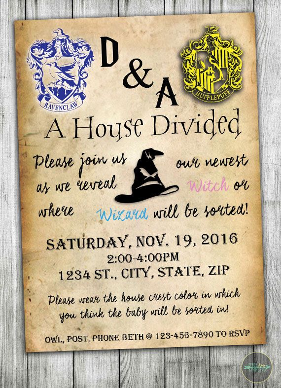 See where your new little one will be sorted with this custom Harry Potter-theme  gender reveal invitation! Find more inspiration at Peace Love Prints Co. at  ... 9883691c13af