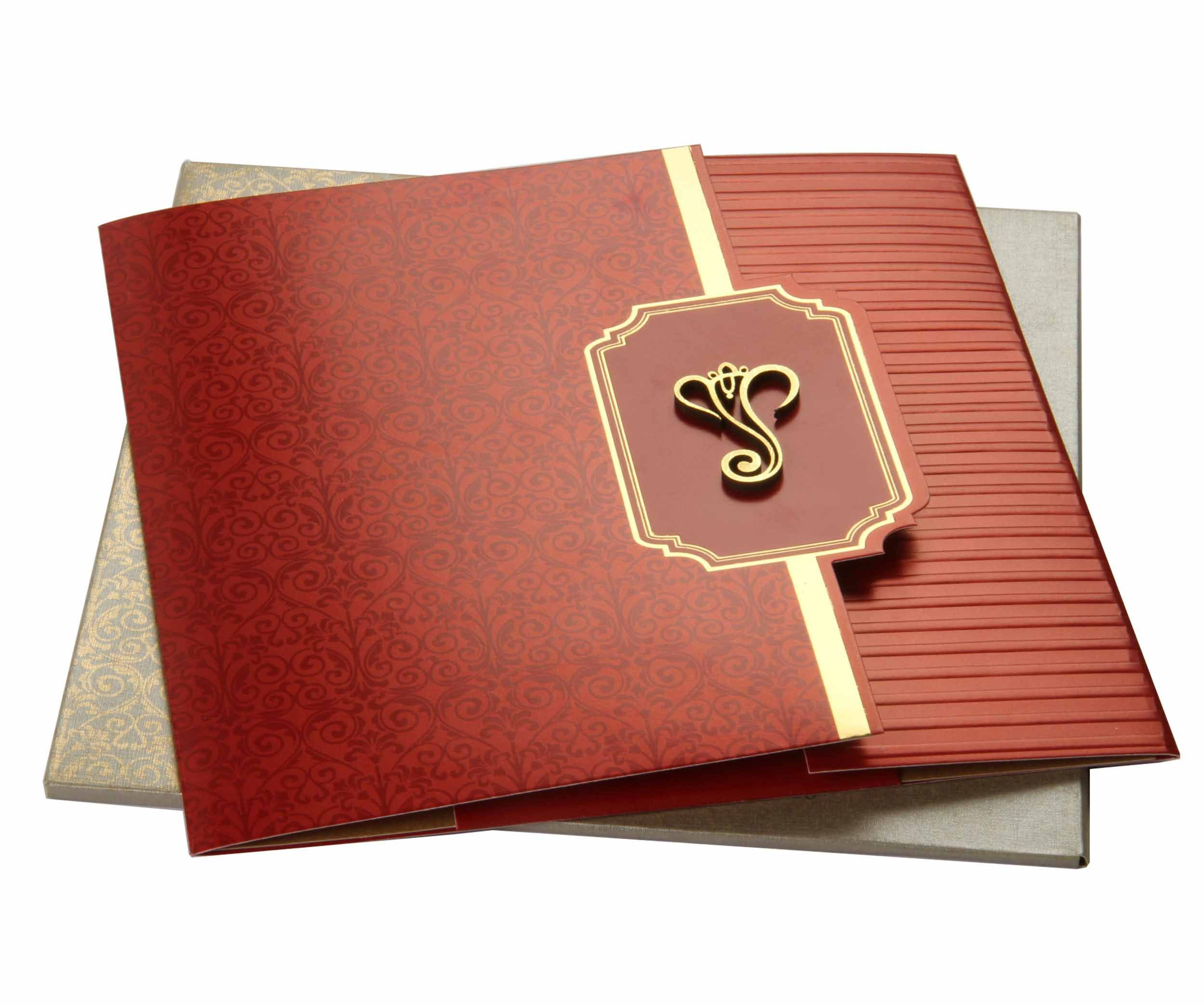 Metallic Paper Red colored Invitation Card | Ganesha themed wedding ...