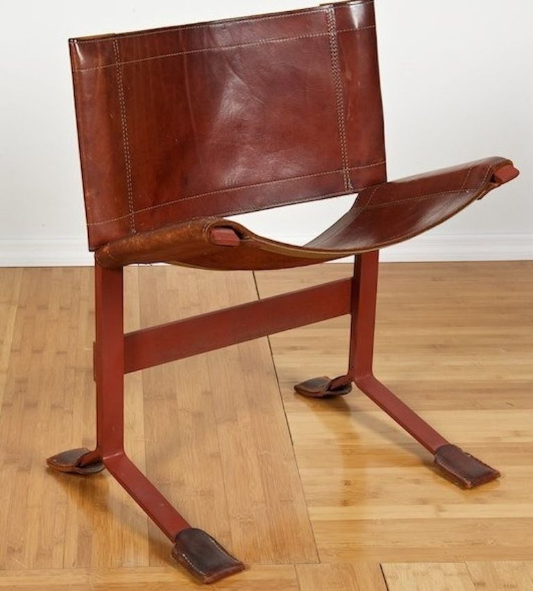 Max Gottschalk; Leather and Enameled Steel Chair, 1970s.