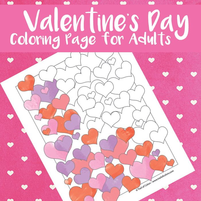 Valentines Hearts Coloring Page for Adults   Valentine heart ...