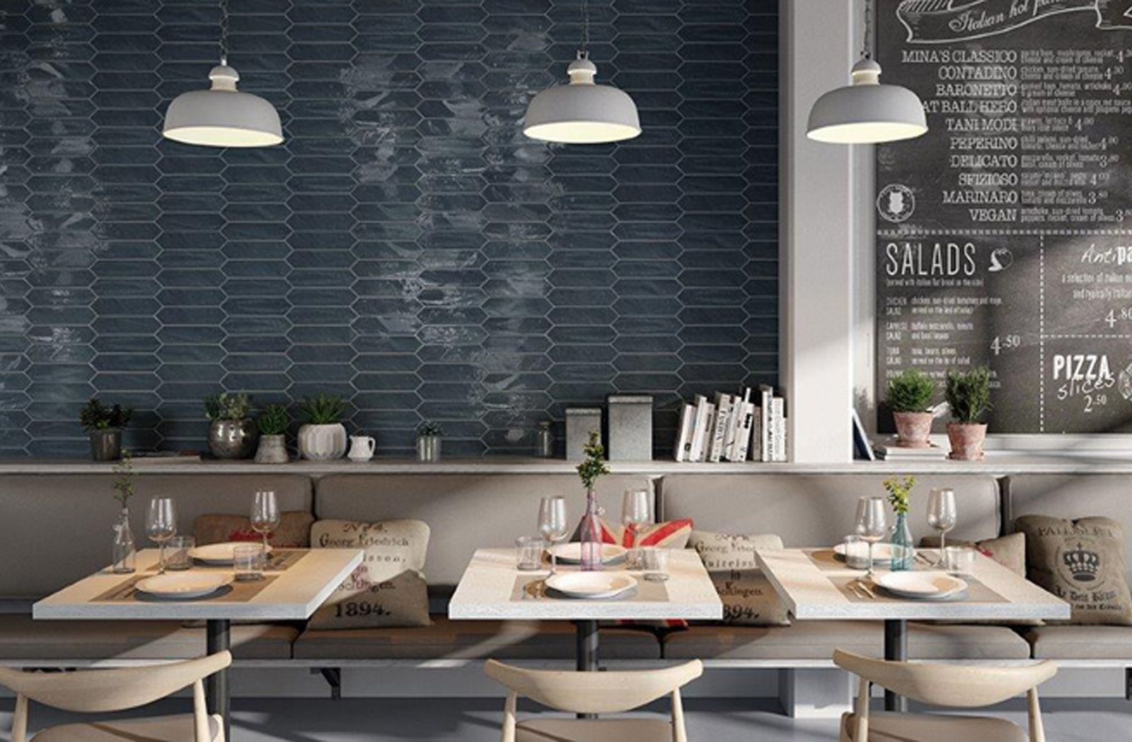 quirky cafe blue feature wall with hexagon tile. featuring crayon