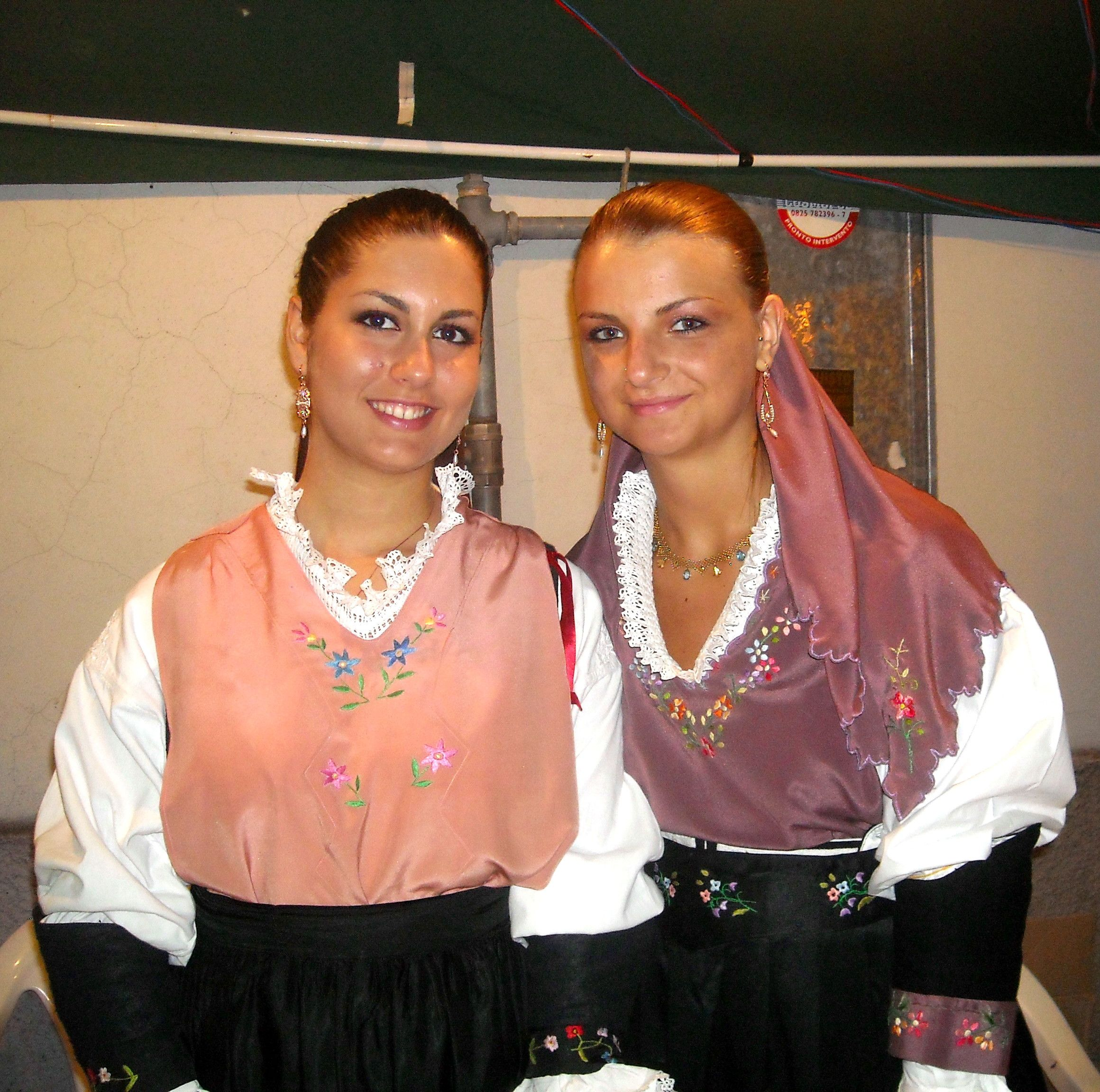 Two Italian Girls Wearing Pizzillo The Traditional Dress From Calitri