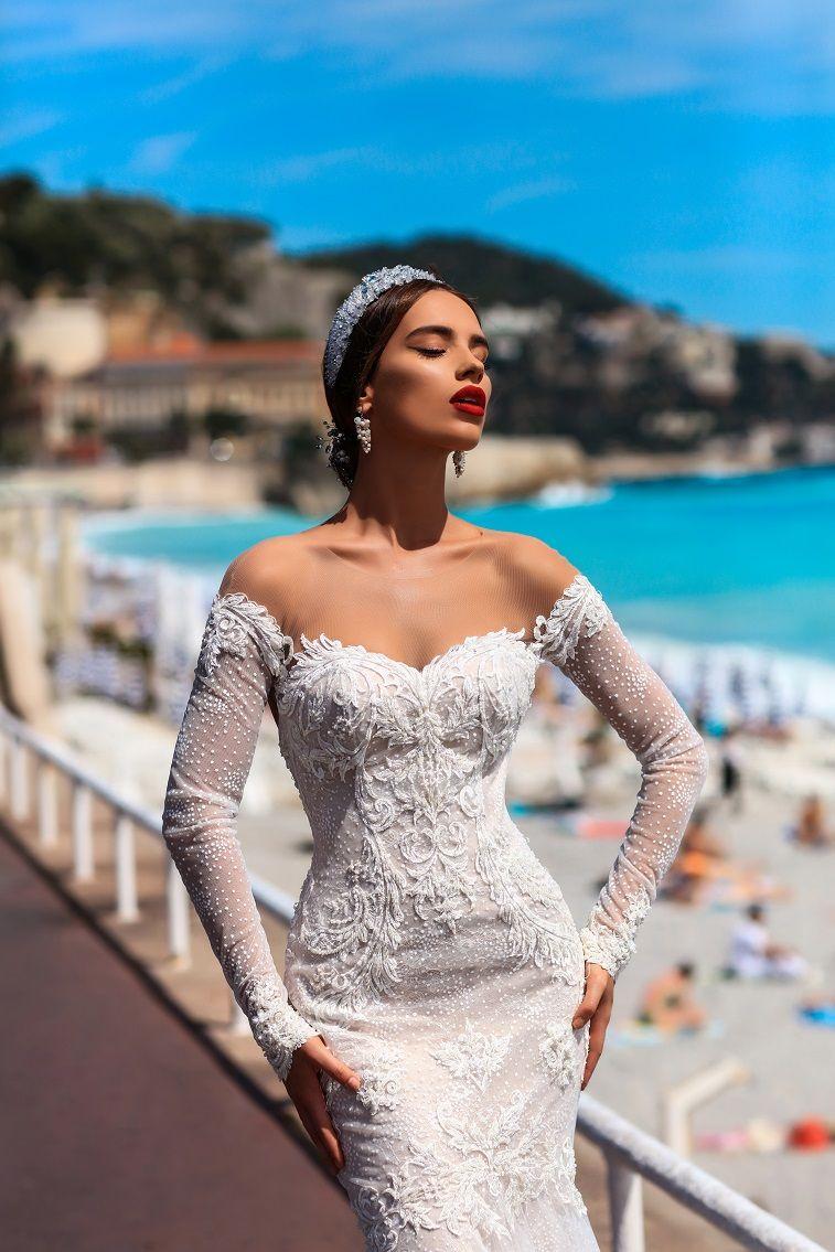 long sleeves illusion sweetheart neckline mermaid wedding gown with swept train #weddingdress #wedding #weddinggown