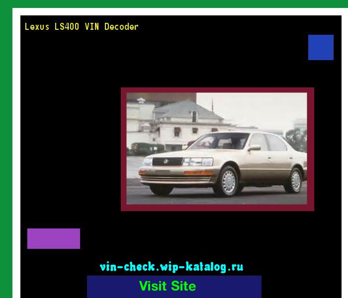 Lexus Vin Decoder >> Lexus Ls400 Vin Decoder Lookup Lexus Ls400 Vin Number
