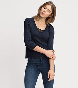 ff0690ea405 Femme T-shirt manches longues en bleu foncé-chiné – prix bas sur l´e ...