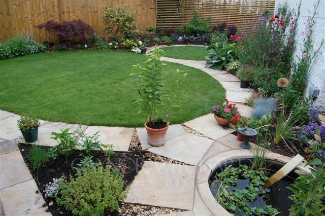 Small Lawned Garden With Circles Backyard Landscaping Designs Small Garden Design Small Gardens