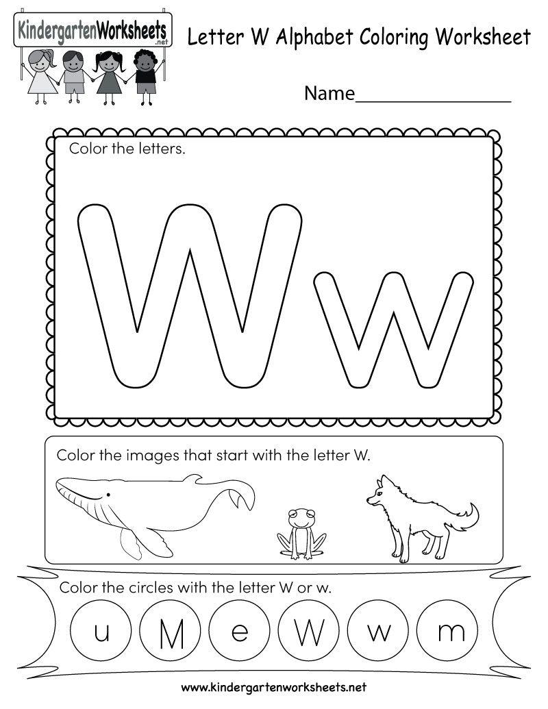 Letter W Worksheets For Kindergarten Worksheet For Kindergarten In 2020 Letter W Worksheets Alphabet Worksheets Alphabet Kindergarten