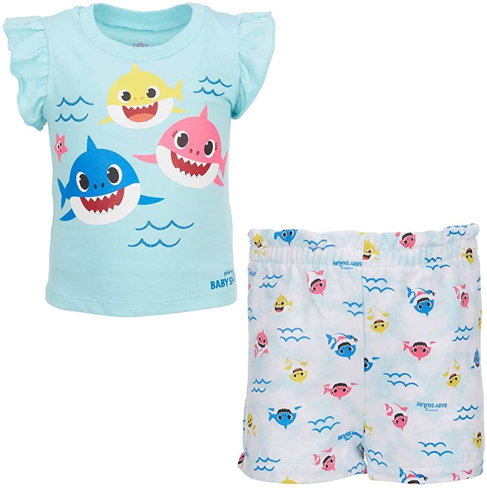 Pinkfong Baby Shark Girls 3 Pack Short Sleeve T-Shirts