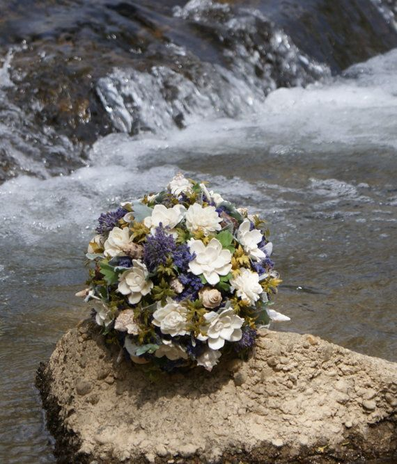 Sea Shell and Wood Flower Bouquet by SLYCreations on Etsy, $78.00