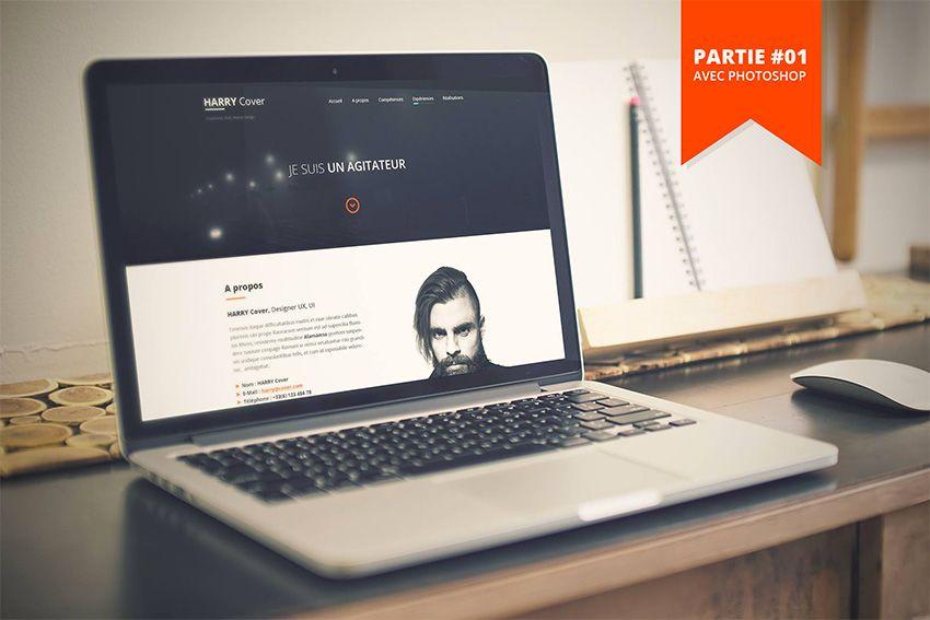 tutoriel cr u00e9er le web design d u2019un template de site cv    portfolio responsive avec photoshop cc