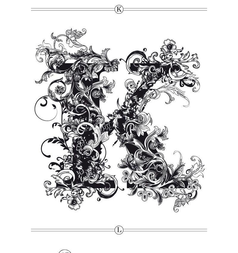 Brushwood alphabet. K Printable art, Fancy fonts