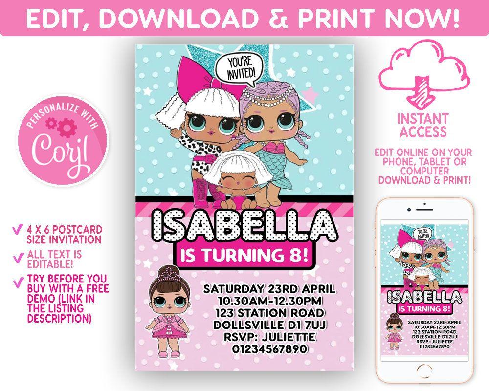 Lol Surprise Doll Party Invitation Invites Birthday Party Instant Download Invite Editable File Corjl Printa Doll Party Party Invitations Diy Party Invitations