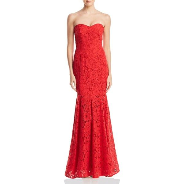 Decode 1.8 Strapless Lace Gown (845 BRL) ❤ liked on Polyvore ...