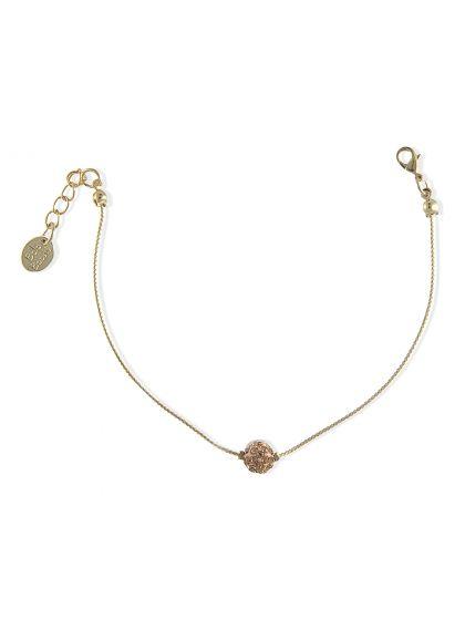 Bracelet fin doré pendentif boule beige | Bala Boosté