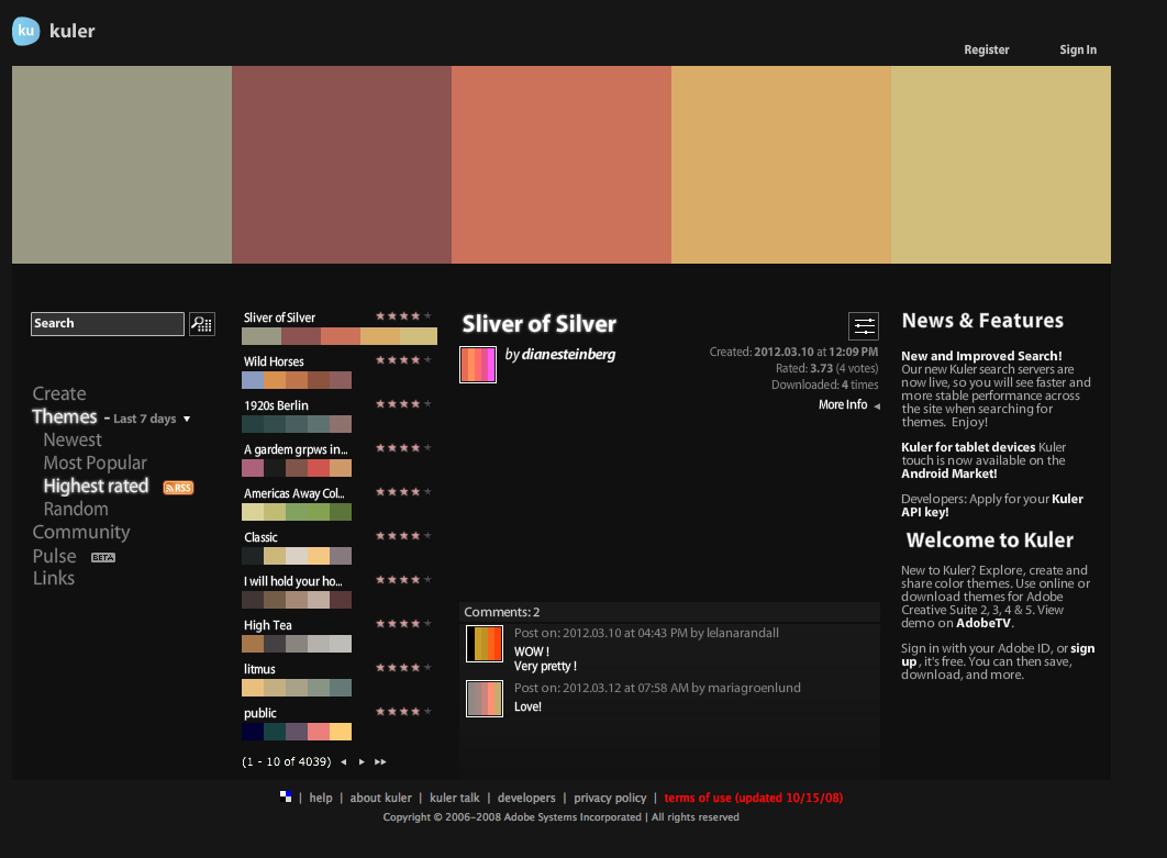 Color adobe online - Adobe Kuler A Large Library Of User Submitted Color Schemes In Adobe Kuler