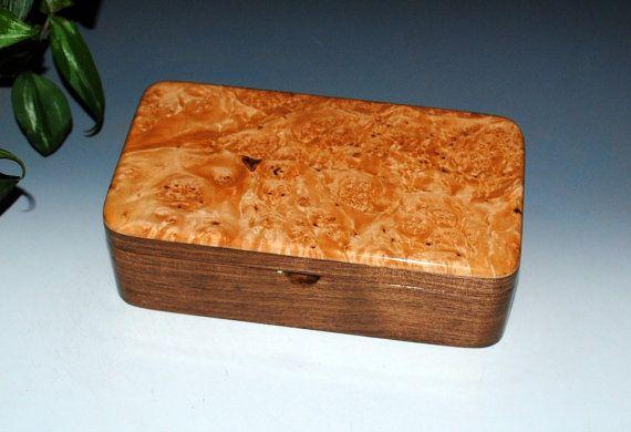 Handmade Maple Burl on Walnut Wooden Box With Tray - Jewelry Box Stash Box Treasure BoxHandmade Wood Box Burl Wood Box - Wooden Boxes by BurlWoodBox