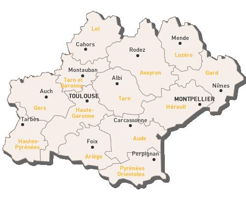 carte de la région occitanie S'informer sur l'Occitanie | Aeroport toulouse blagnac, Aeroport