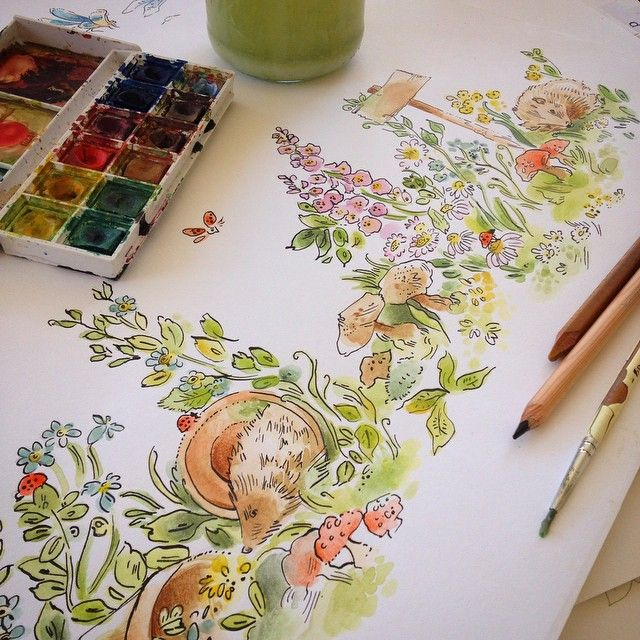 Clare Therese  Autumn garden illustration
