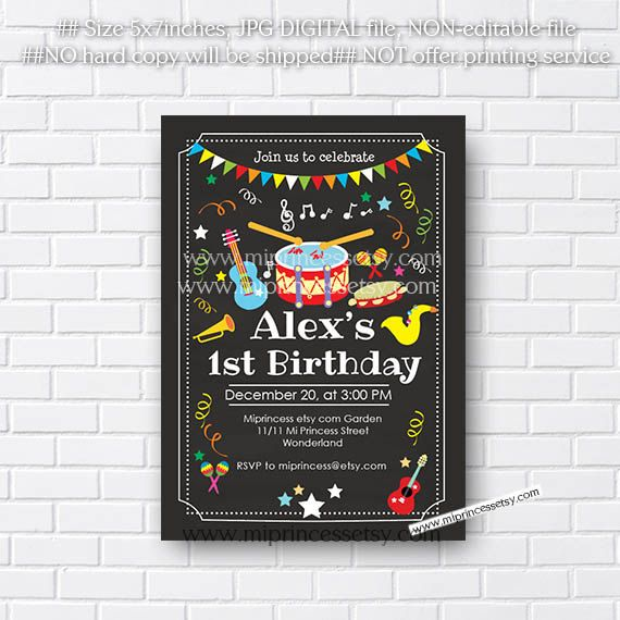 music birthday invitation kids any age instruments music party