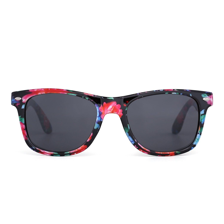 d2e76e06f Retro Mirror Wayfarer Sunglasses Reflective Lens Spring Hinge Temple Men  Women - Floral / Grey - C417Z6L8Q8N - Women's Sunglasses, Wayfarer  #WomenSunglasses ...