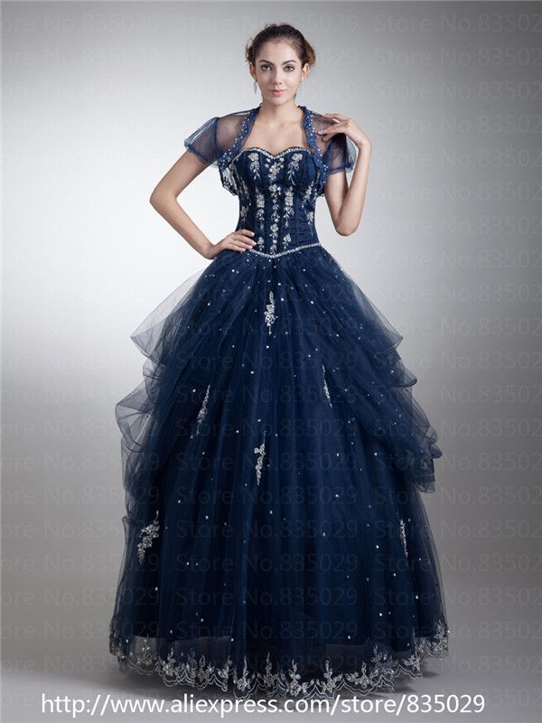 masquerade dresses | Tulle Modest Masquerade Ball Gown Navy Blue ...