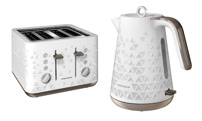 Groupon goods global gmbh morphy richards prism kettle for Kitchen set kettle toaster