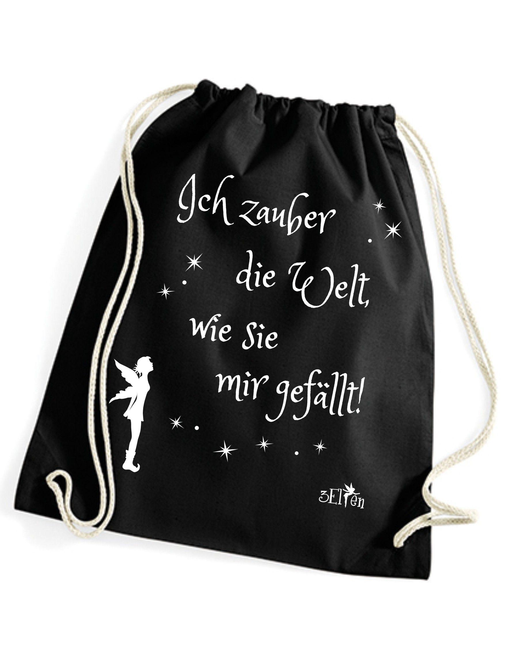 Cooler Turnbeutel / Sportbeutel / Festival Rucksack Aus Baumwolle Von  3Elfen Mit Dem Spruch: Ich