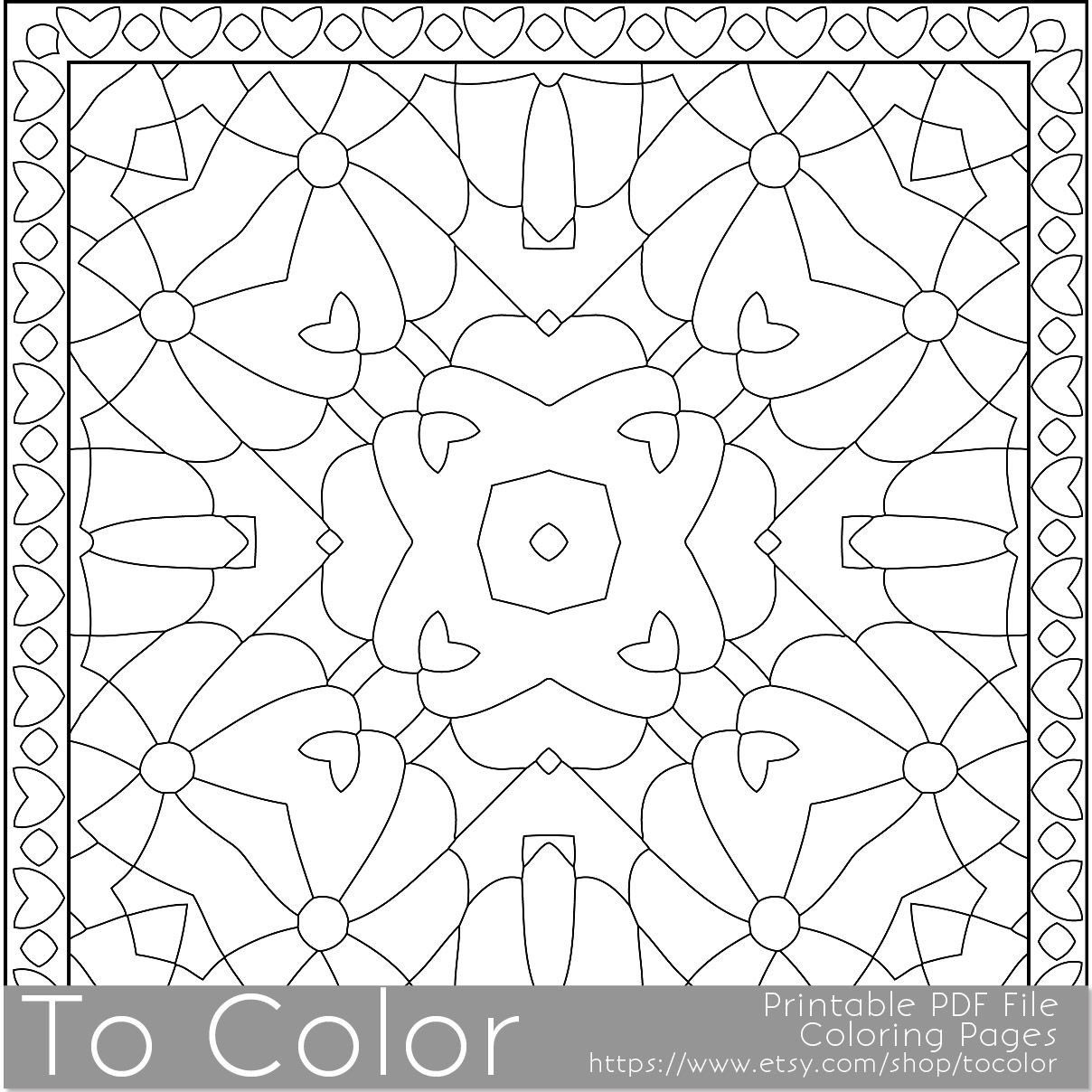 This is a geometric mandala pattern printable coloring page for