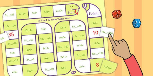 self checking 2 5 and 10 times tables board game board