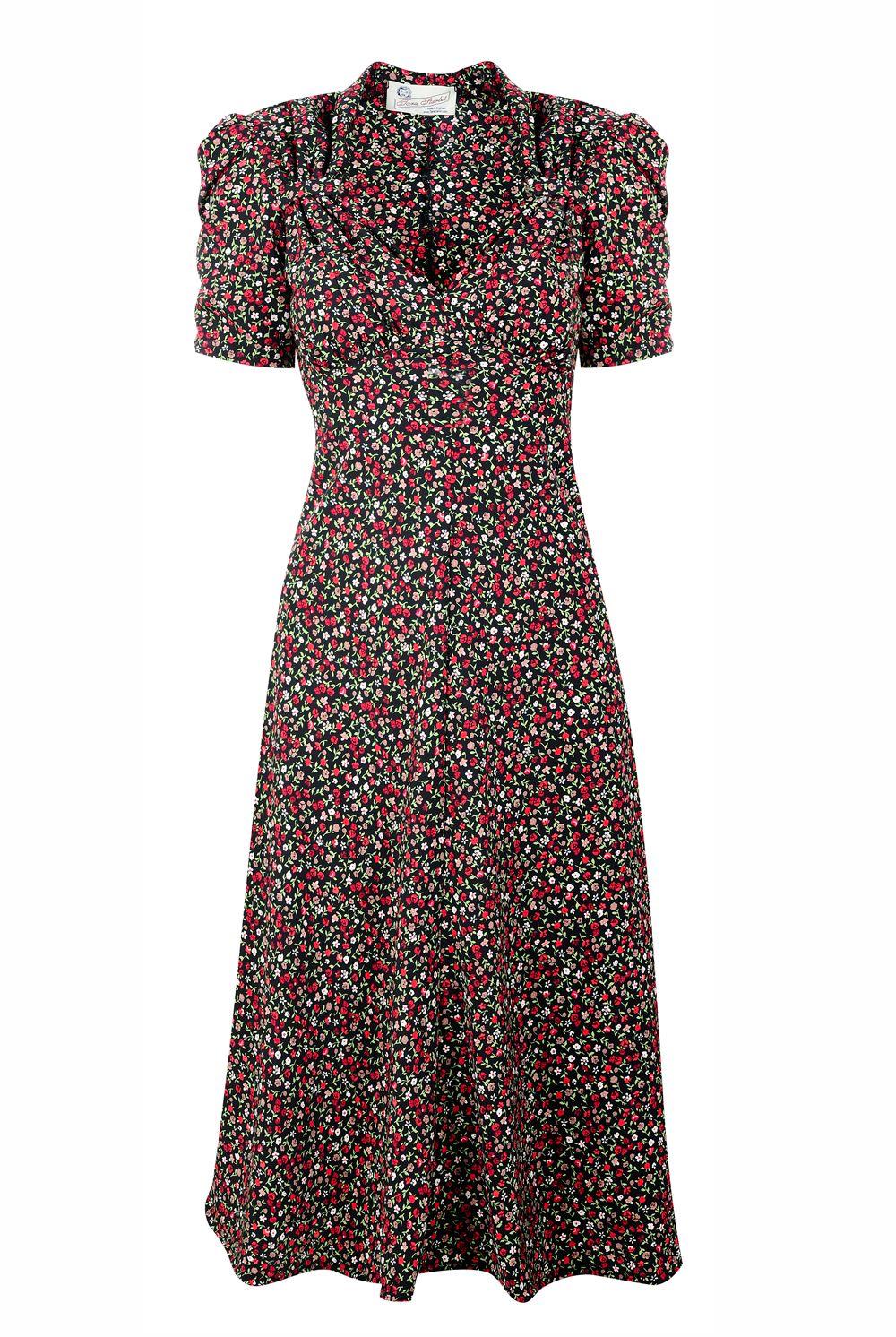 Tara Starlet 1940s 40s Style: Floral Sweetheart Dress