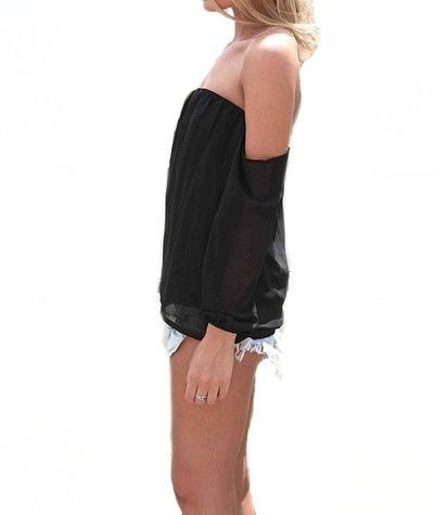 Wisteria Lane Off the Shoulder Blouse - Black - $35.00 | Daily Chic Tops | International Shipping