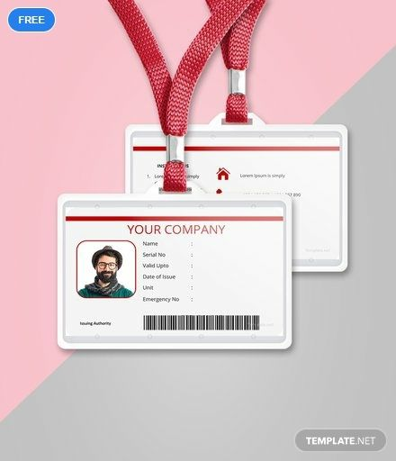 Free Vertical Blank ID Card Id card template, Templates