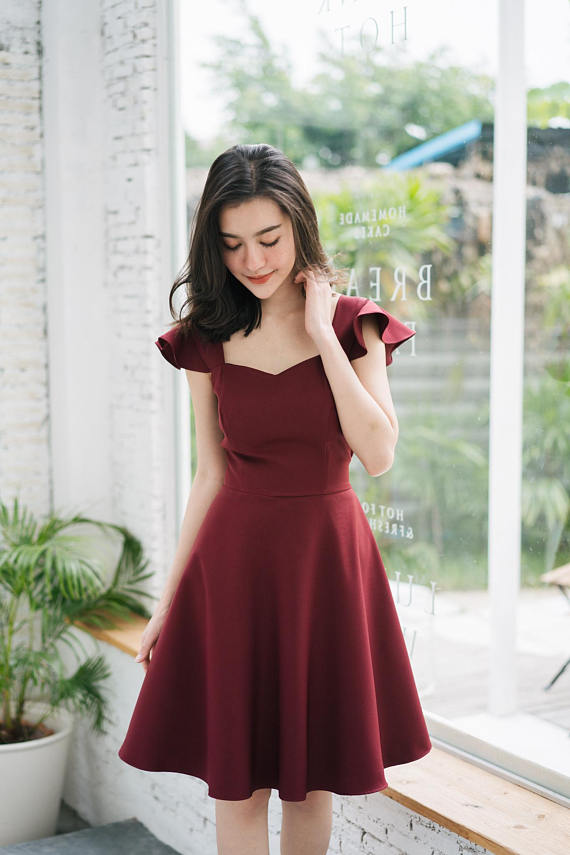 78a3e7e24f4 Olivia - Prom Dress Burgundy Dark Red Dress Formal Dress Cocktail Dress  Bridal Wedding Party Dress S