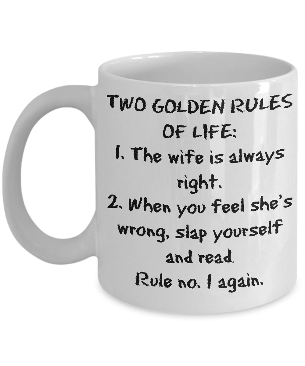 My wife is always right mug for men funny coffee cup for husband dads coffee and gift - Two and a half men coffee mug ...