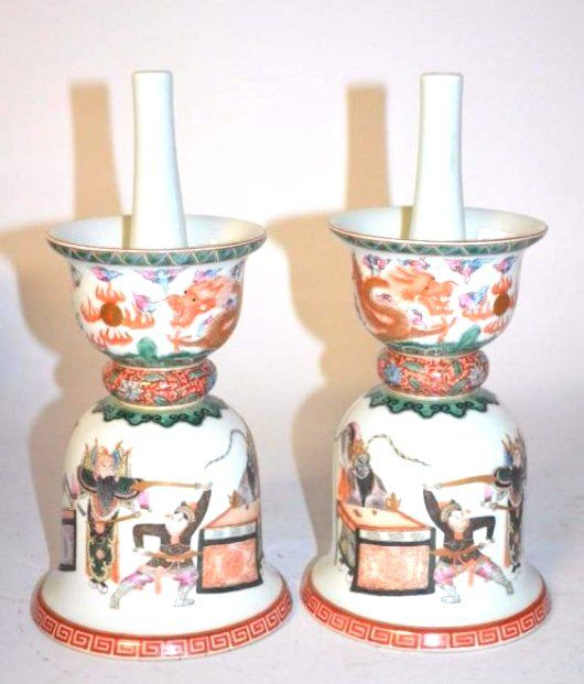 Pair of Chinese Famille Rose Porcelain Candle Holders