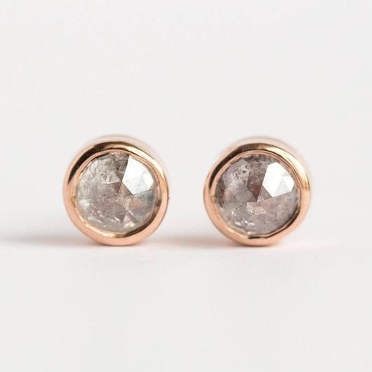 f64e42a0b93e7 1ct Galaxy grey rosecut diamond earrings in rose gold bezel setting ...