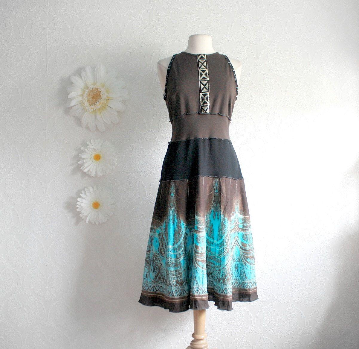 Women's Brown Dress Turquoise Sundress Upcycled Clothing Eco ...