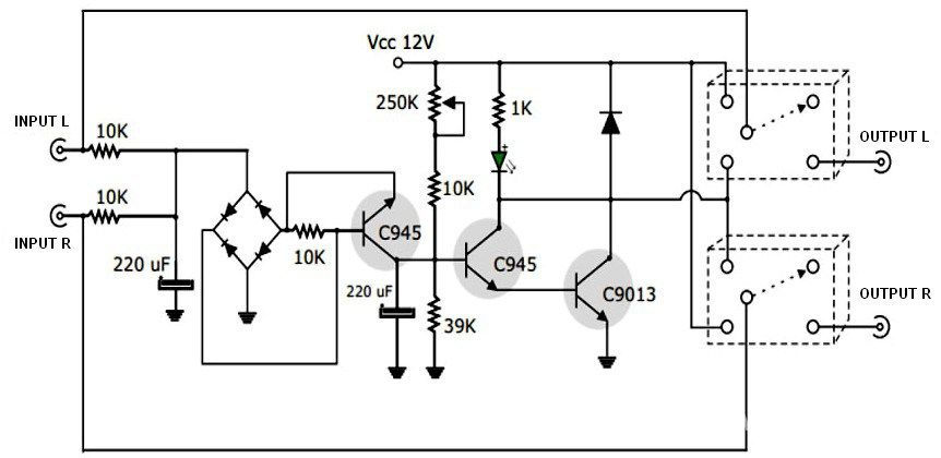 this is a simple active speaker protector circuit which has a very important use  expecially to