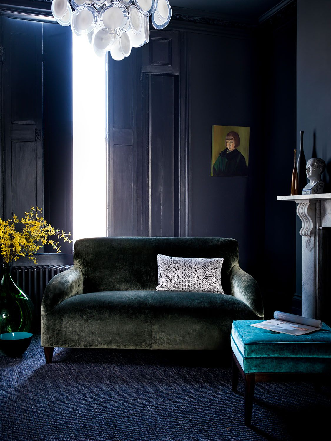 Orlando Sofa In Italian Velvet Emerald Sofa Green - Lounge Sofa Orlando