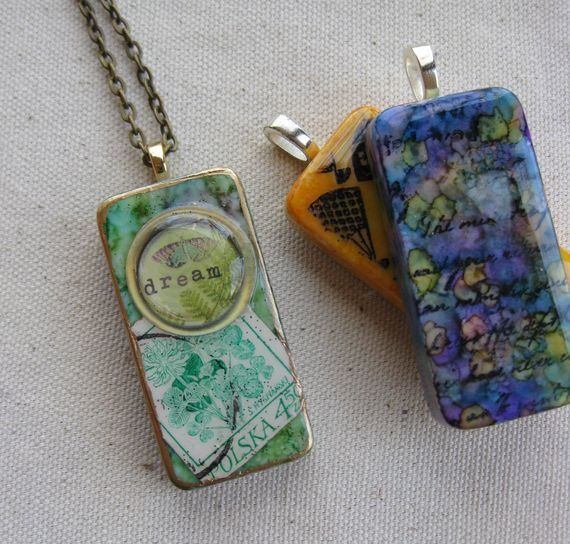 Mixed Media Domino Pendant