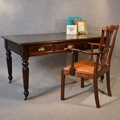 Antique Desk Victorian Large Leather Mahogany Library Writing Study Table C1880 From Such Gorgeous Things Tag59607