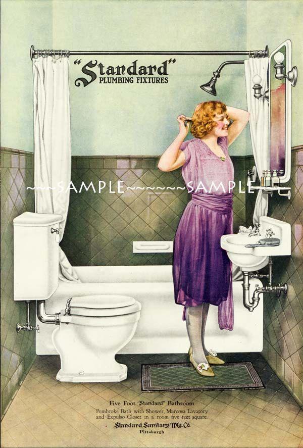 Vintage 1920s DECO Bathroom PURPLE dress FLAPPER Girl Hair Style Art ...