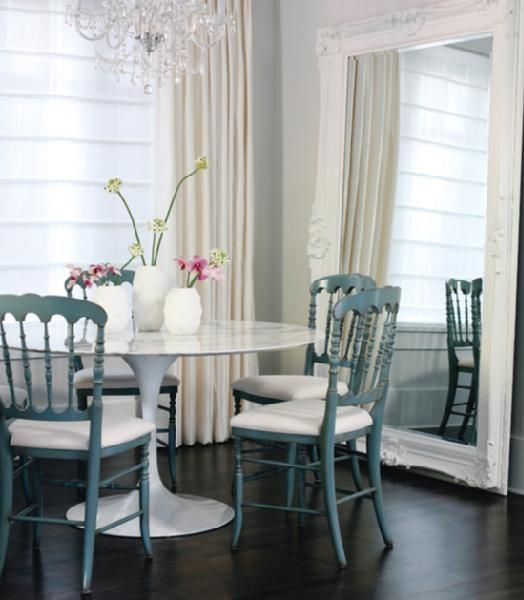Nice modern space  Saarinen s marble tulip table  combined with oversized  mirror and simple blue chairs Mirror  mirror on the wall       from HomeSense  in Canada  . Dining Room Chairs Homesense. Home Design Ideas