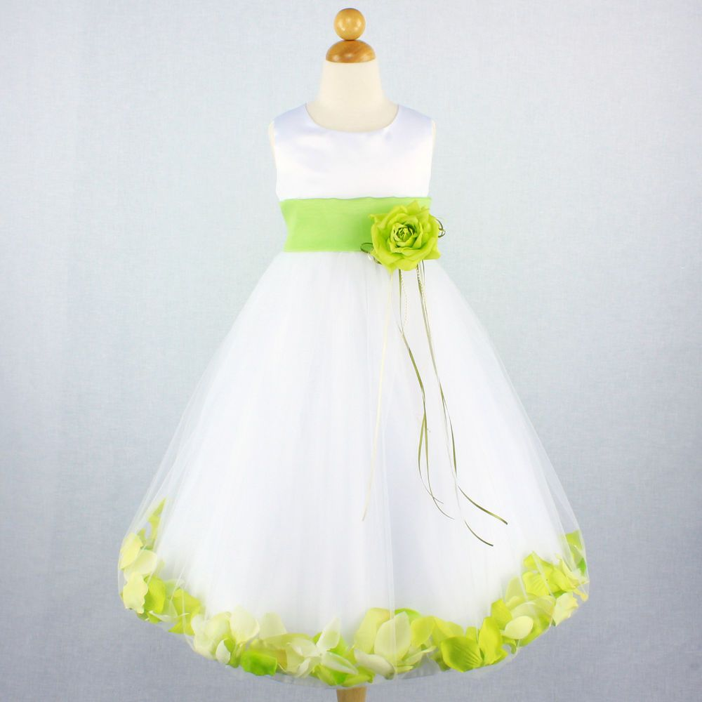 White Lime Green Flower Girl Dress Bridal Wedding Party