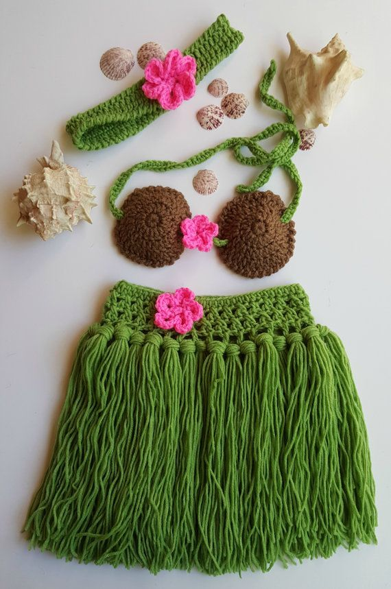 6edc18a08dee9 Hula girl outfit - Girls Hula Skirt - Hula skirt - Baby Hula Skirt -  Newborn Crochet Outfit - Babys First Pictures - Hawaiian Hula Girl Purchase  our ...