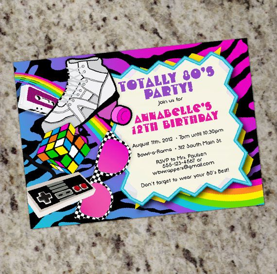TOTALLY 80s 1980s themed Birthday Party Invitations Printable – 80s Theme Party Invitations