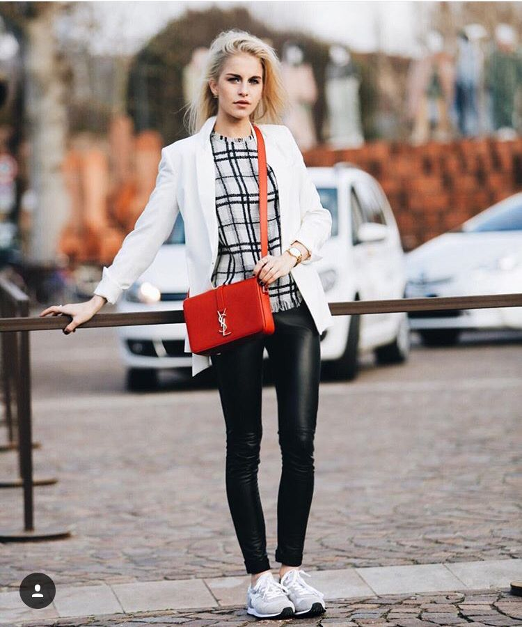 Leather leggings, blazer, sneakers & red purse